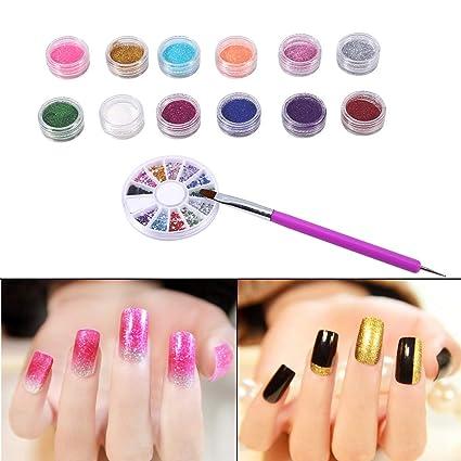 12 colores Juego de polvos de brillo, Kit de arte de uñas, pluma acrílica