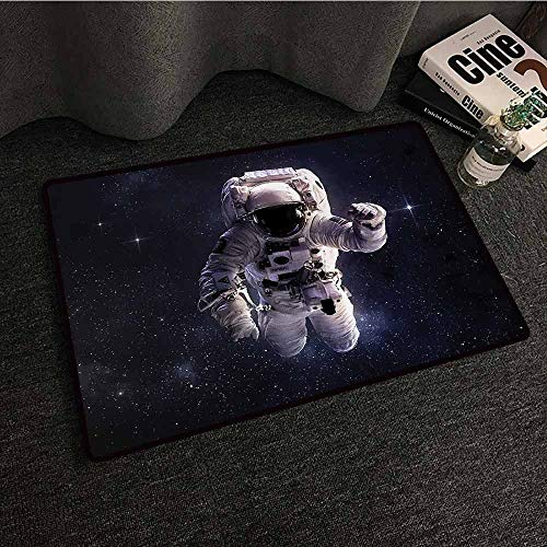 DuckBaby Interior Door mat Galaxy Astronaut in Outer Space Stardust Nebula in Milky Way Cosmonaut Apollo Art Antifouling W35 xL47