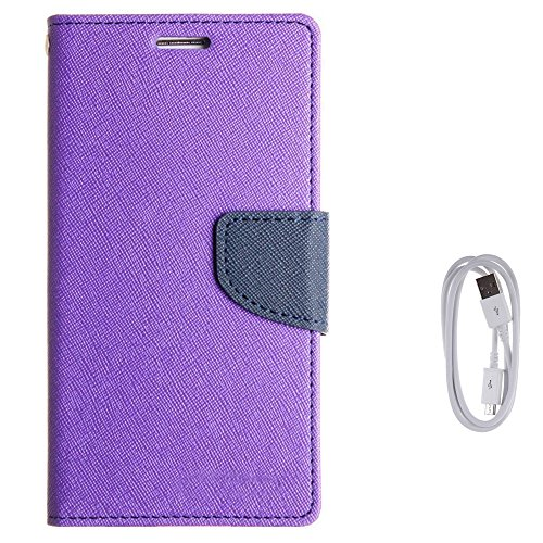 Avzax Diary Look Flip Case Cover for Huawei Honor Holly 2 Plus  Purple  + Data Transfer  amp; Charging Cable
