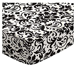 SheetWorld Fitted Pack N Play (Graco) Sheet - Black Damask - Made In USA