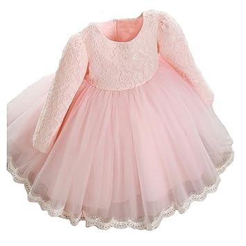 Baby Mädchen Spitze Langarm Blumen Bowknot Dress Prinzessin Party ...