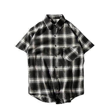 Mens Short Sleeve Plaid Checkered Button Down Casual Shirts
