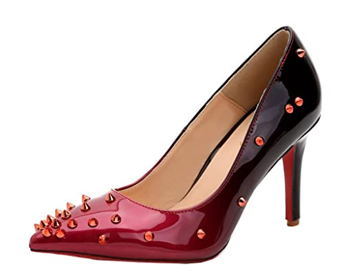 a9d786f6428 Katypeny Women's Pointed-Toe Stiletto High Heel Pump Shoes Wine Red ...