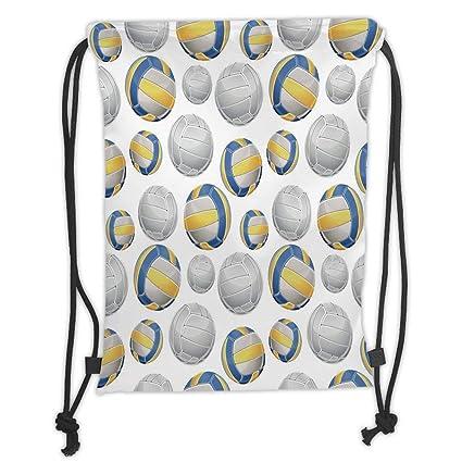 Drawstring Backpacks Bags,Yellow and Blue,Vivid Volley Balls Sports Icons Activity Hobby Team