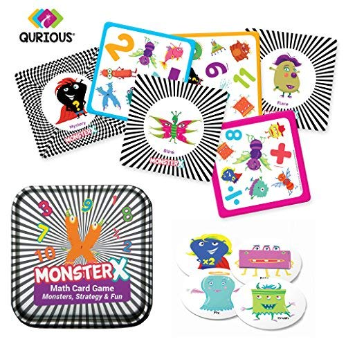 Qurious MonsterX | STEM Math Flash Card Game | Fun Super Monsters Teach Addition, Subtraction, Multiplication and Division | Perfect Compact Travel Game | up to 6 Players