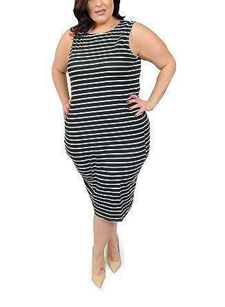 Amazon Plus Size Cotton Spandex Allover Printed Striped Club