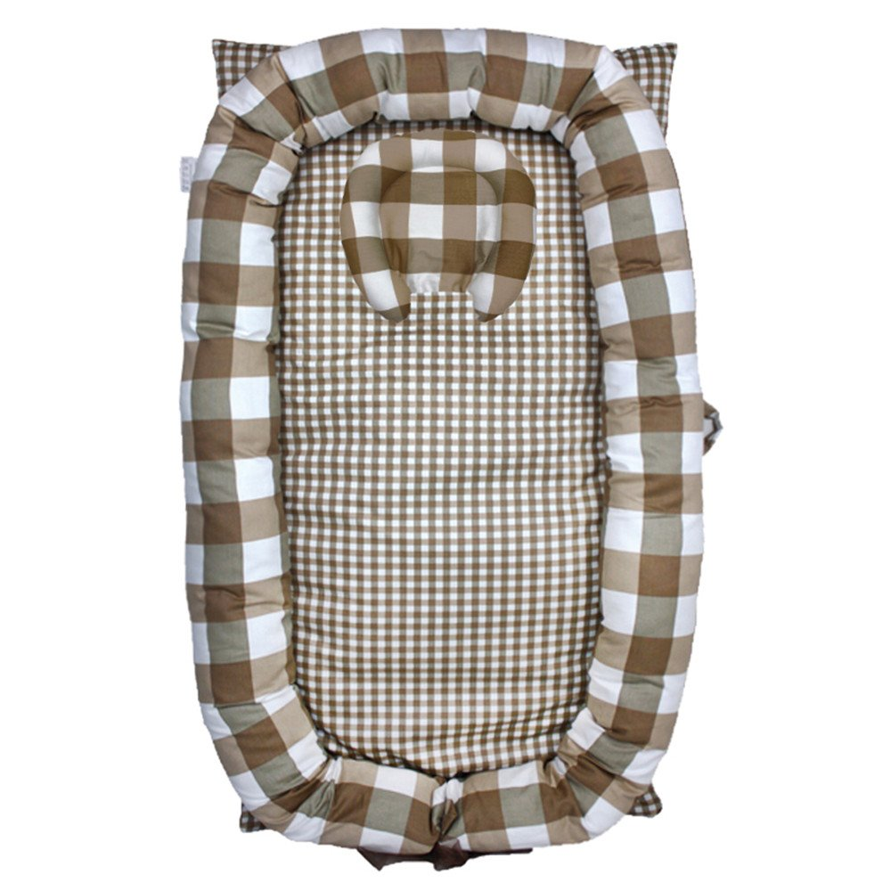 Abreeze Baby Bassinet for Bed -Brown Plaid Baby Lounger - Breathable & Hypoallergenic Co-Sleeping Baby Bed - 100% Cotton Portable Crib for Bedroom/Travel by Abreeze