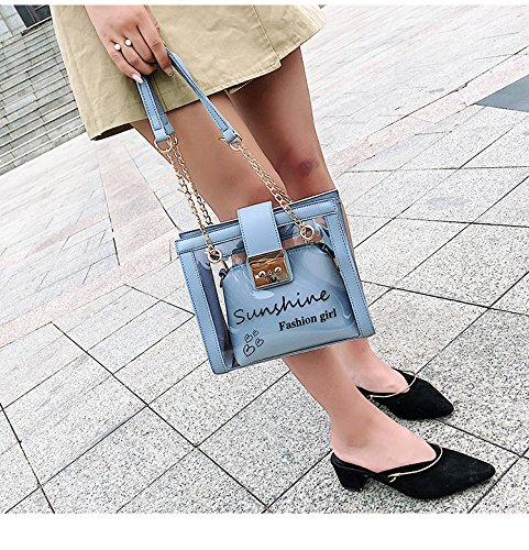 Messenger Satchel Crossbody Shoulder de gelée Package Sacs pour Tote Designer Blue transparent main les à de femmes sac 7wxSqOZ
