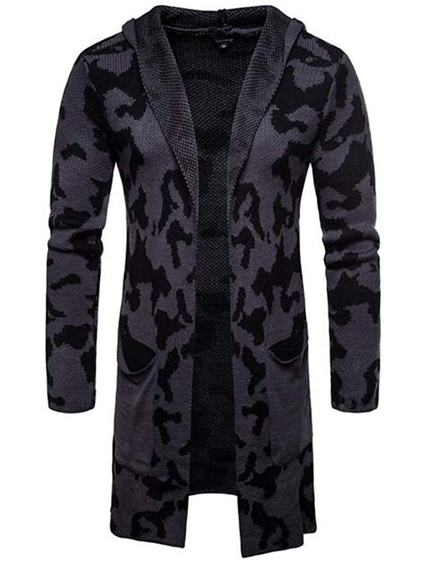 YYear Mens Hooded Long Sleeve Camouflage Knit Open Front Cardigan Sweater