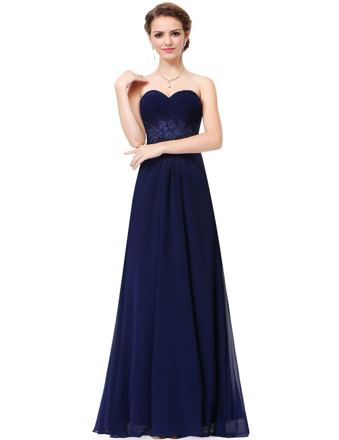 Ever-Pretty Womens Floor Length Empire Lace Waist Corset Style Prom Dress 10 US Navy Blue