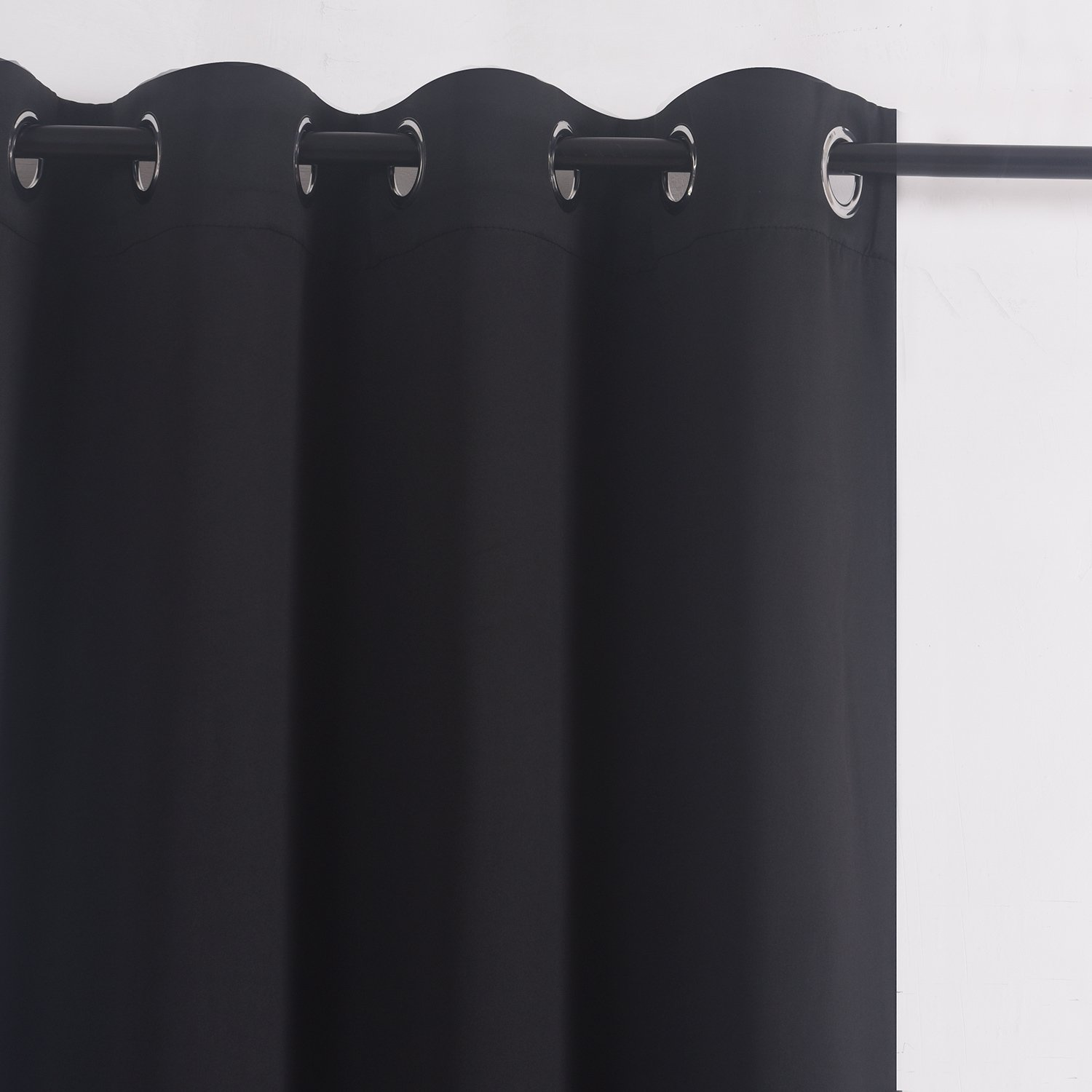 Blackout Curtain Panels for Bedroom Windows - Aquazolax Thermal Insulated Grommet Top Blackout Draperies Black