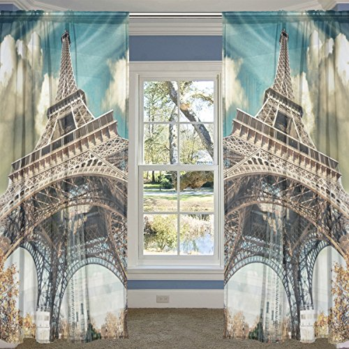 (ALIREA Wonderful Street View Of Paris Eiffel Tower Sheer Curtain Panels Tulle Polyester Voile Window Treatment Panel Curtains For Bedroom Living Room Home Decor, 55x78 inches, 2 Panels Set)