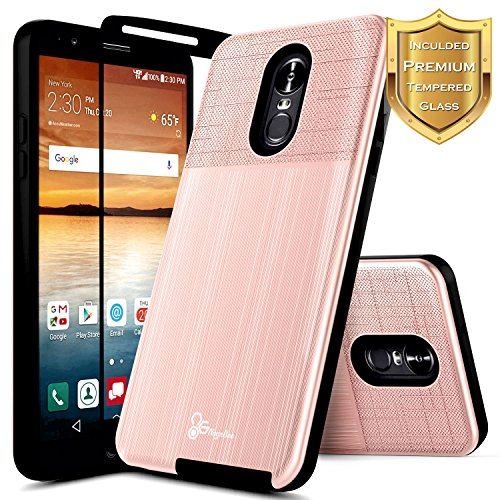 Stylo 4 Plus Case, LG Q Stylus w/[Full Coverage Tempered Glass Screen Protector], NageBee [Carbon Fiber Brushed] Defender Armor Shockproof Dual Layer Hybrid Combo Case -Rose Gold ()