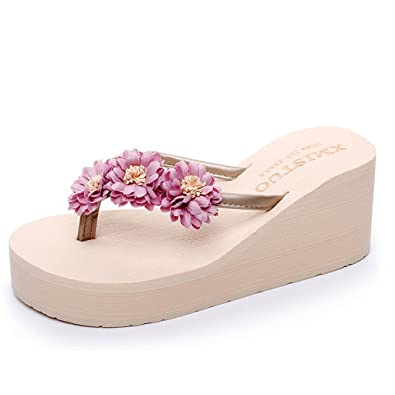 Ladies Womens Flower Wedge Flip Flops Summer Slip On Mules Beach Sandal Shoes uk