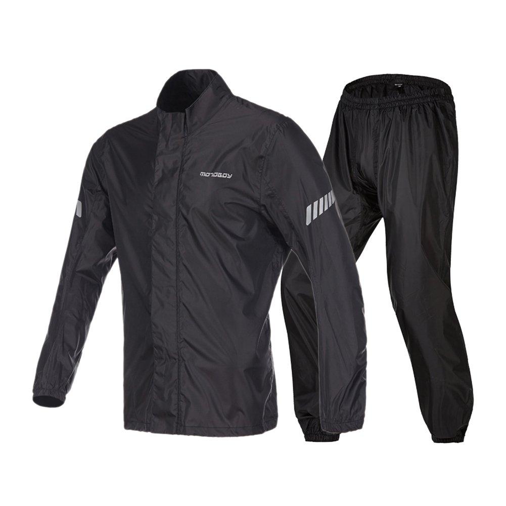 Motorcycle Rain Suit,Waterproof Fishing Hiking Golf Packaway Rain Coat,Hi Viz Reflective Bicycle Rain Jacket (Black, L) by MOTO-BOY