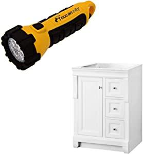 Toucan City LED Flashlight and Home Decorators Collection Naples 24 in. W Bath Vanity Cabinet Only in White with Right Hand Drawers NAWA2418D
