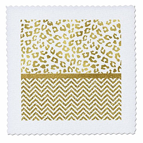 Foil Bling T-shirt - 3dRose Anne Marie Baugh - Patterns - Ultra Glam Faux Gold Cheetah Print With Chevron Stripes - 6x6 inch quilt square (qs_274084_2)