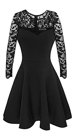 9f04775f54f8c Sylvestidoso Women's A-Line Pleated Long Sleeve Little Cocktail Party Dress  with Floral Lace (
