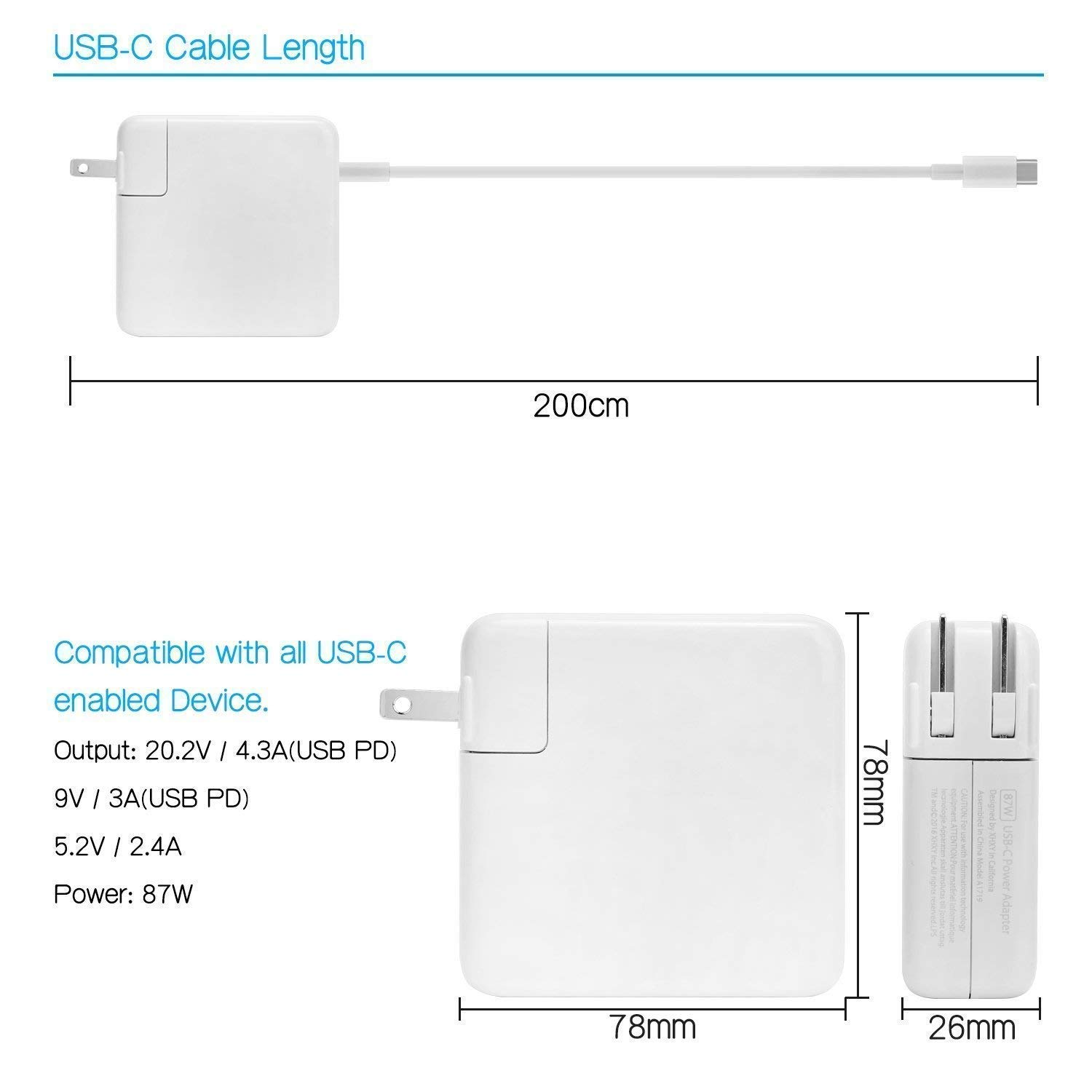 87W USB-C Power Adapter, Replacement USB-C AC supply charger Compatible with Mac Book Pro 15 inch 2016 13 inch 2017 2018 12 inch With USB-C to USB-C charge cable by RAYI (Image #3)