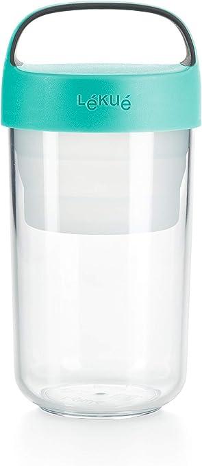 Oferta amazon: Lékué - Recipiente hermético para transportar alimentos, 600 ml, Plástico, Turquesa