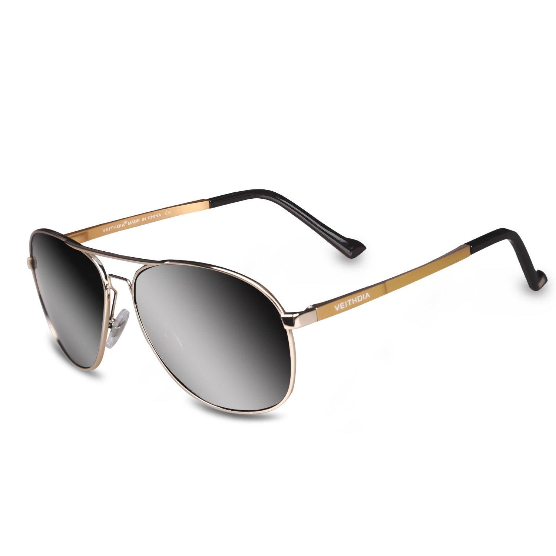423e9032f4 Amazon.com  VEITHDIA 3364 Classic Adjustable Polarized Aviator Sunglasses  100% UV Protection (Golden