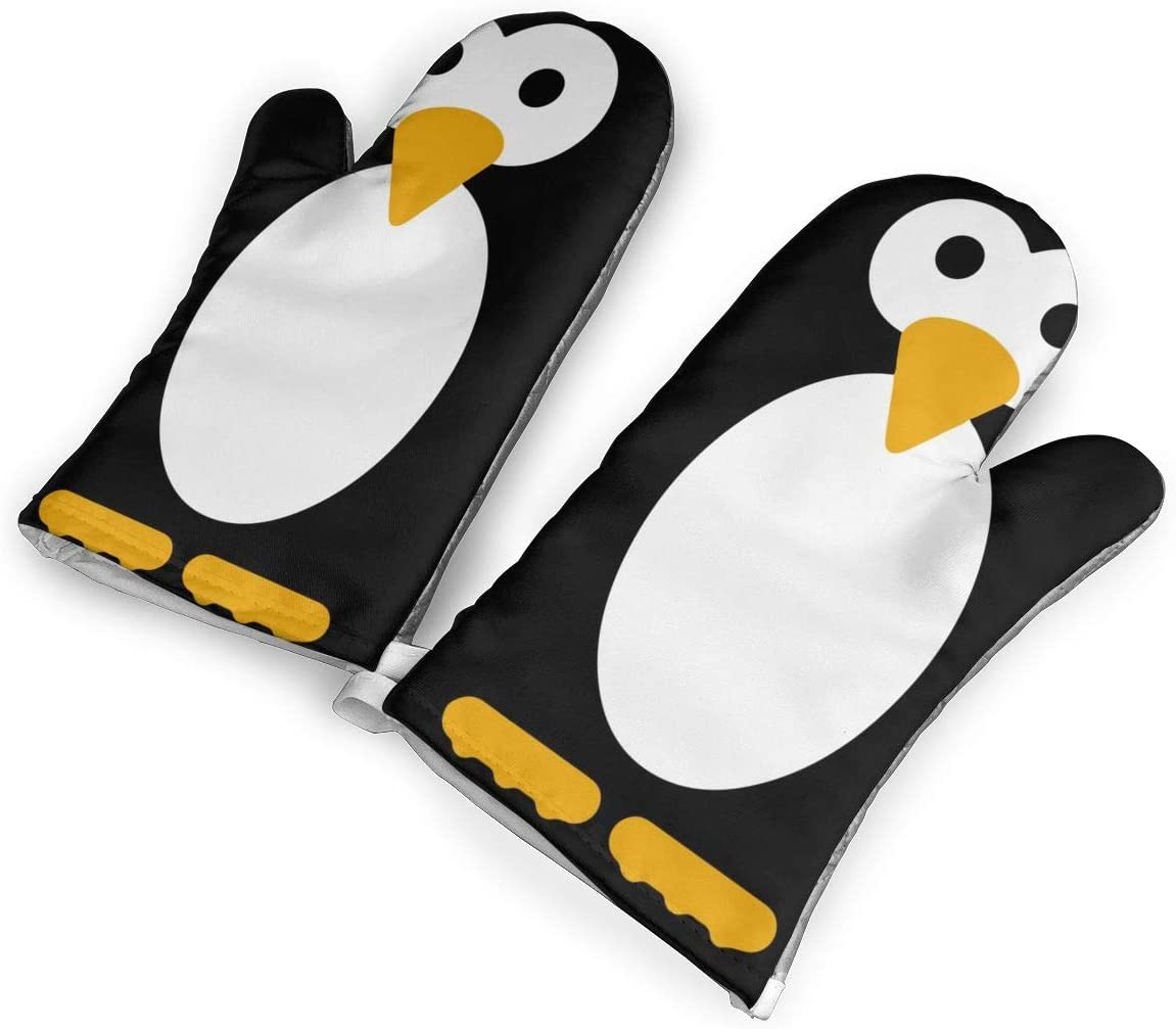 ZORITO Cute Penguin Black Oven Mitts - 1 Pair of Extra Long Professional Non-Slip Baking Gloves - Food Safe, Soft Inner Lining
