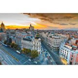 Pitaara Box Panoramic View Of Gran Via Street In Madrid, Spain Unframed Canvas Painting 36.1 x 24inch