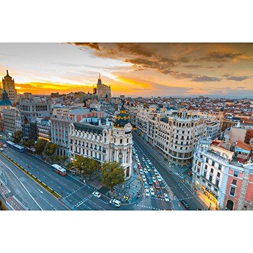 Pitaara Box Panoramic View Of Gran Via Street In Madrid, Spain Unframed Canvas Painting 36.1 x 24inch by Pitaara Box