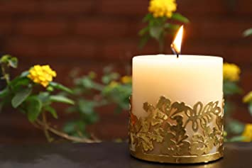Lighthaus Candles Scented Candle Pillar Vanilla Aroma with Beautiful Gold Grid