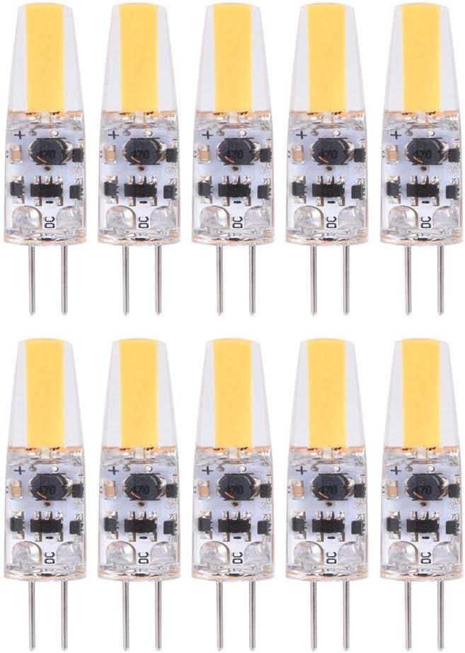Fdit - 10 Bombillas halógenas G4 LED de Silicona, Repuesto G4 LED, Bombilla Bipin Base de luz 1,2 W CA/CC, 12-24 V