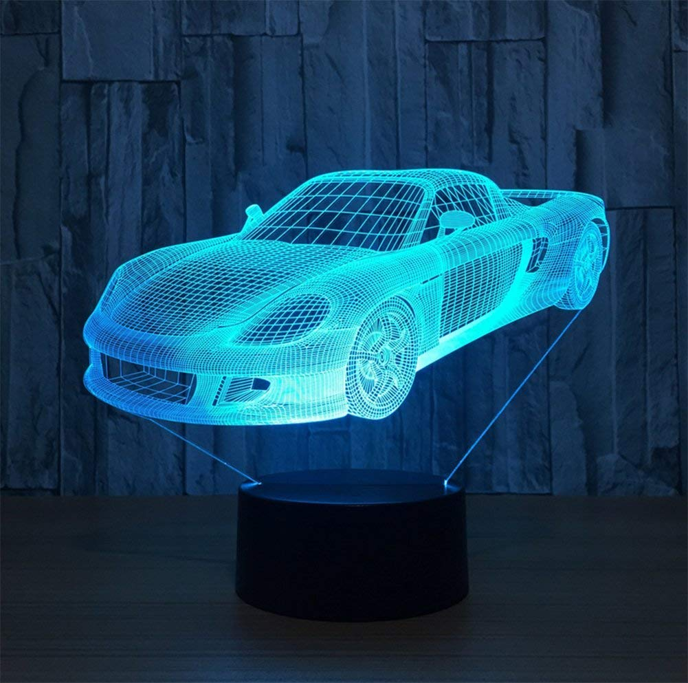 Novelty Lamp, 3D Child Car Optical Illusion Night Light USB Charging LED Lamp, Color Change 5 Color for Bedroom, Kids Room, Coffee Table, Christmas Decoration and Lover Gift,Ambient Light by LIX-XYD (Image #2)