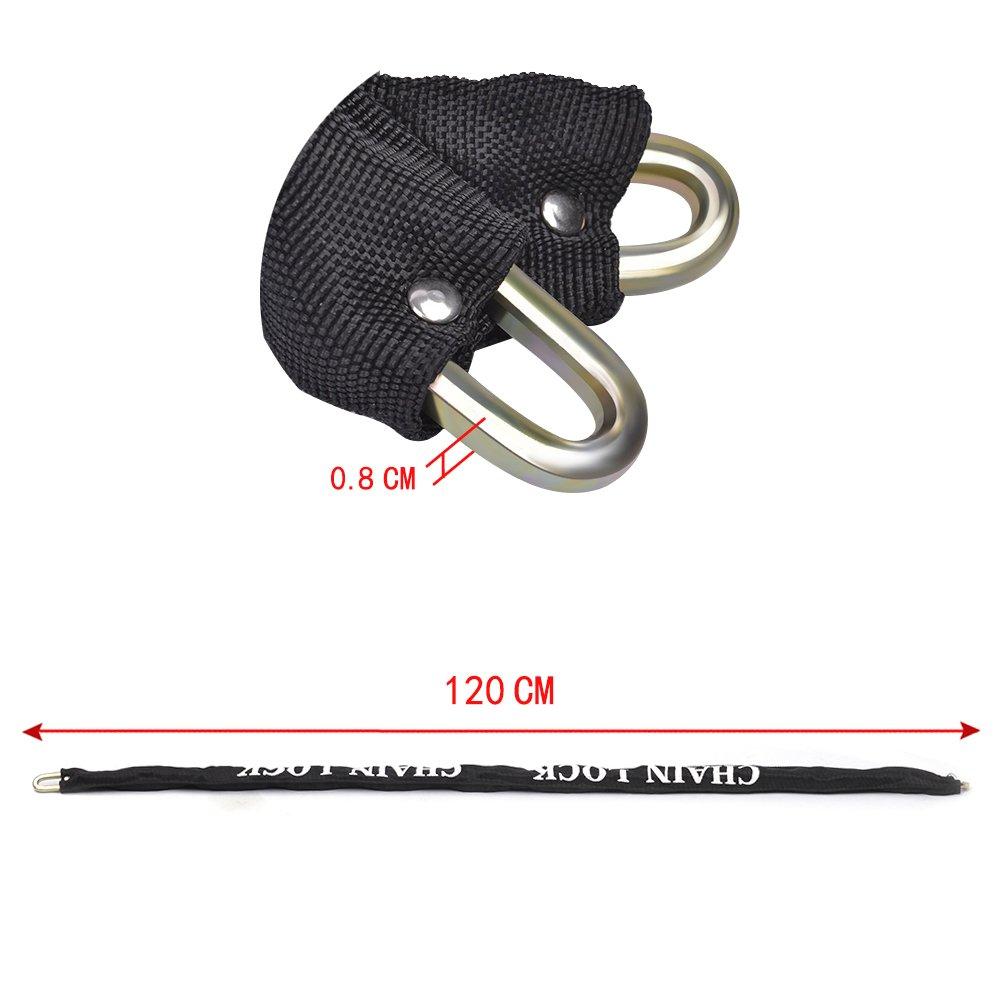 8 mm de di/ámetro x 1,2 m de longitud bicicleta bicicleta motocicleta Candado de cadena de 8 mm x 1,2 m para motocicleta AWinEur