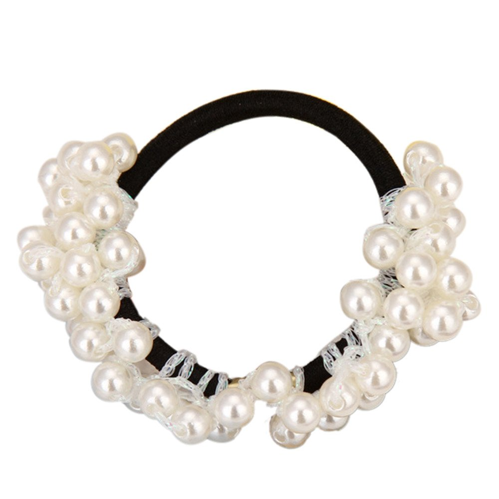 Hair Ties Clearance , Women Fashion Rhinestone Crystal Pearl Hair Band Rope Elastic Ponytail Holder  by Little Story