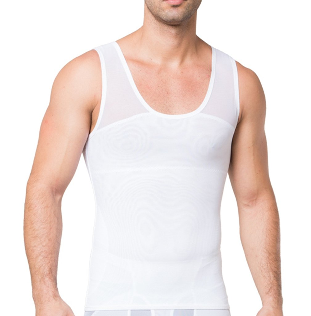 Jiao Miao Men's Compression Shirt to Hide Gynecomastia Moobs Chest Slimming Body Shaper Undershirt,S379-14-XL