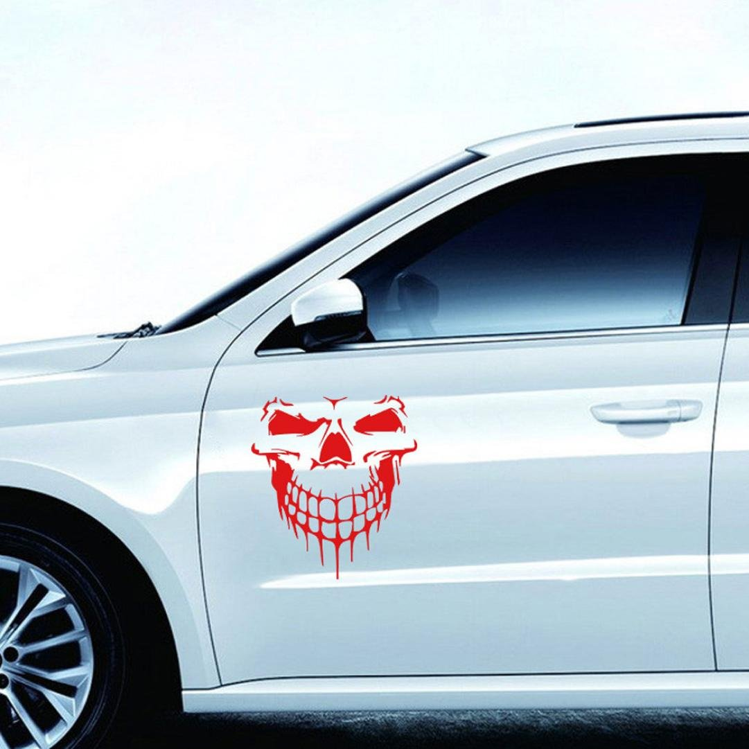 Amazon com ikevan car sticker reflective skull car stickers styling removable waterproof sticker black musical instruments