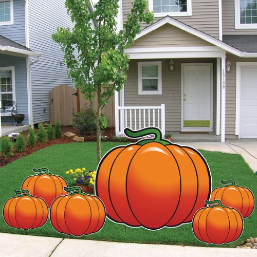 VictoryStore Yard Sign Outdoor Lawn Decorations: The Great Pumpkin Halloween Lawn Decorations, Set of 6 with 12 Short Stakes -