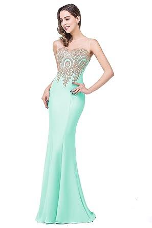 Amazon.com: Babyonline® Women's Lace Applique Long Formal Mermaid ...