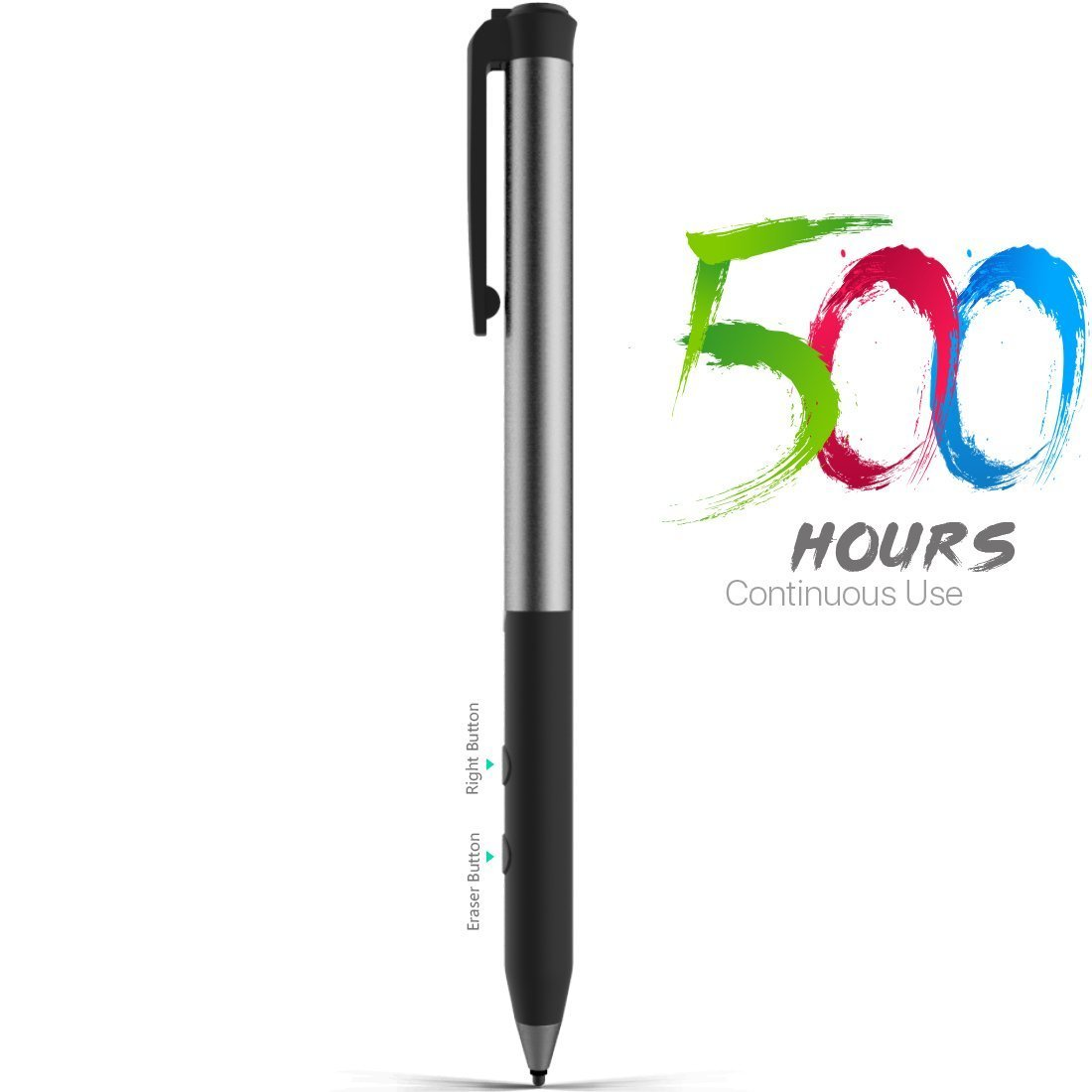 Microsoft Certified Rechargeable Surface Stylus Pens Supporting 500-Hour Working 180-Day Standby and Built-in Battery Active Pen with 4096 Pressure Sensitivity Compatible with Surface Pro 3/4/GO/Laptop/Book/Studio Heiyo HY-Surface-Pen