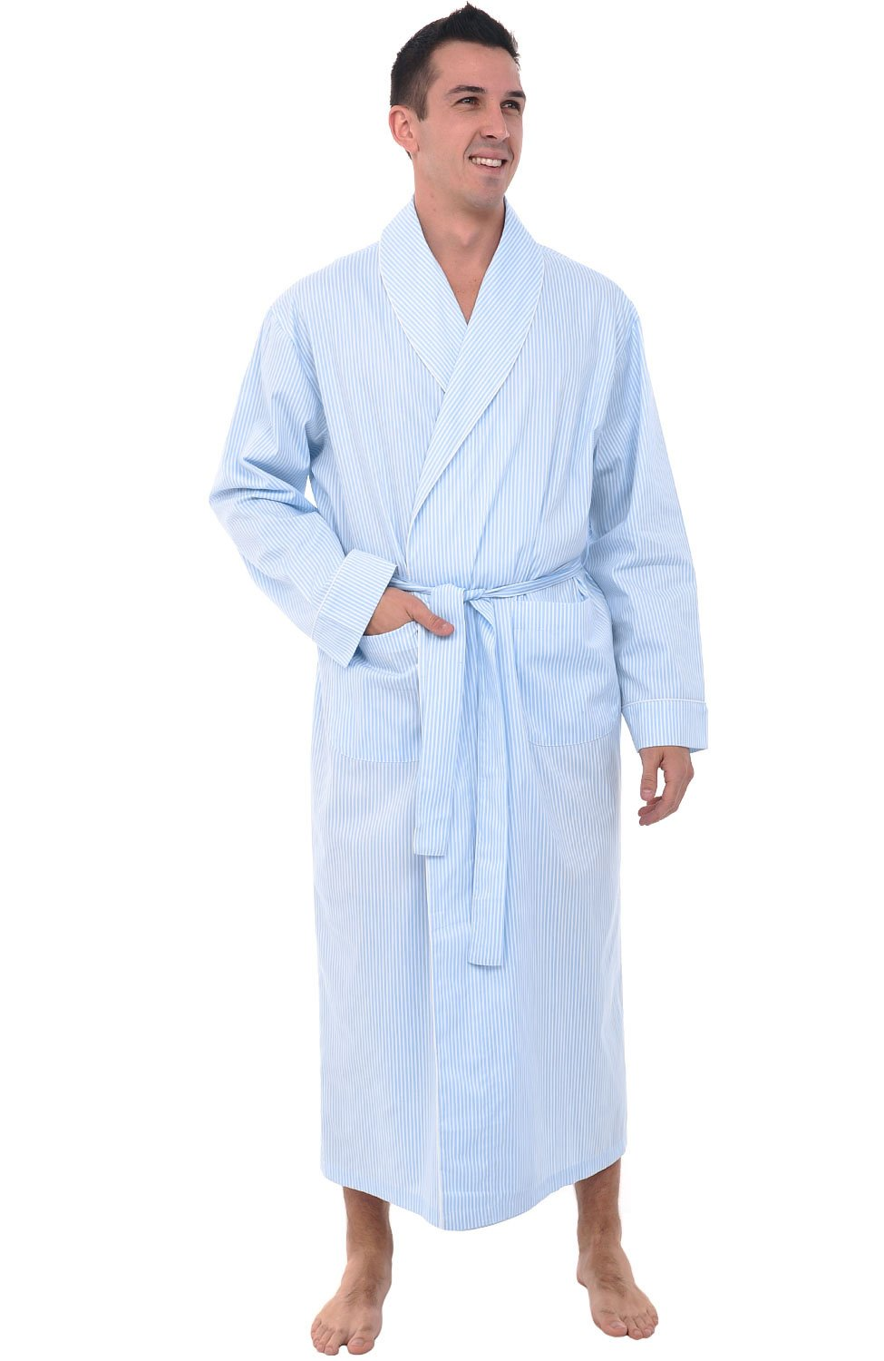 Alexander Del Rossa Mens Cotton Robe, Lightweight Woven Bathrobe, Medium White and Blue Striped (A0715P16MD)