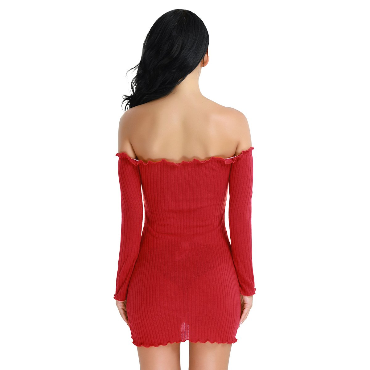 4945ed5b266 YiZYiF Women s Sexy Off Shoulder Long Sleeve Bodycon Knitted Sweater Dress  Red Small at Amazon Women s Clothing store
