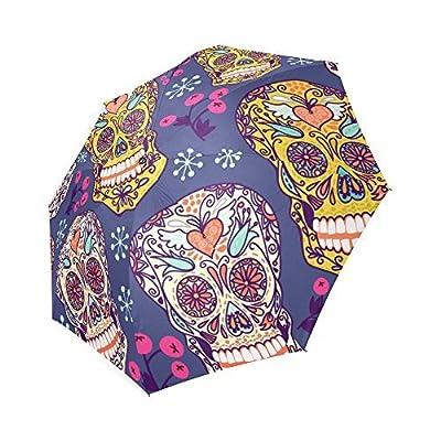 Sugar Skull Dia De Los Muertos 100% Polyester Pongee Waterproof Foldable Travel Fashion Umbrella