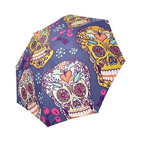 Sugar Skull Dia De Los Muertos 100% Polyester Pongee Waterproof Foldable Travel Fashion Umbrella (Skull Umbrella)