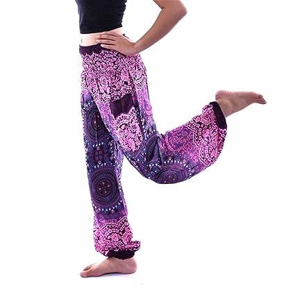Siswong Pantalones Yoga Anchos Multicolor Bohemia Vintage ...
