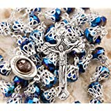 Catholic Rosary With Deep Blue Crystals Beads Jerusalem Necklace Jesus Crucifix Holy Land