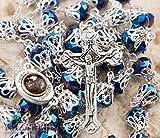 Catholic Rosary With Deep Blue Crystals Beads Jerusalem Necklace Jesus Crucifix Holy Land