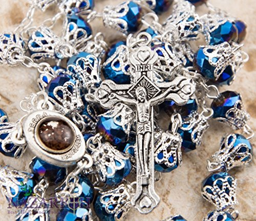 Catholic Rosary With Deep Blue Crystals Beads Jerusalem Necklace Jesus Crucifix Holy Land by Holy Land Gifts