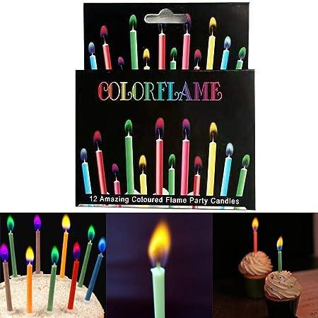 JUSTDOLIFE 12PCS Vela De Cumpleaños Creativo Colorido Pastel ...