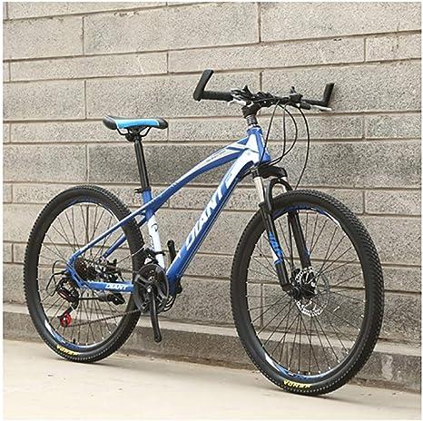 Link Co Frenos de Disco de Cambio de Bicicleta de montaña de 26 Pulgadas Bicicleta de montaña 21 Absorción de Choque de Velocidad Bicicleta de una Rueda,Blue: Amazon.es: Deportes y aire libre