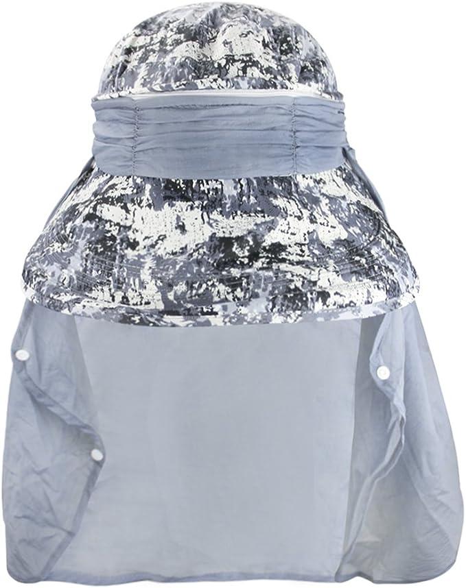 Cappello da pesca e anti zanzara per viaggio YJZQ Cappello da sole con visiera pieghevole e maschera da viso per la protezione del collo UV 50+