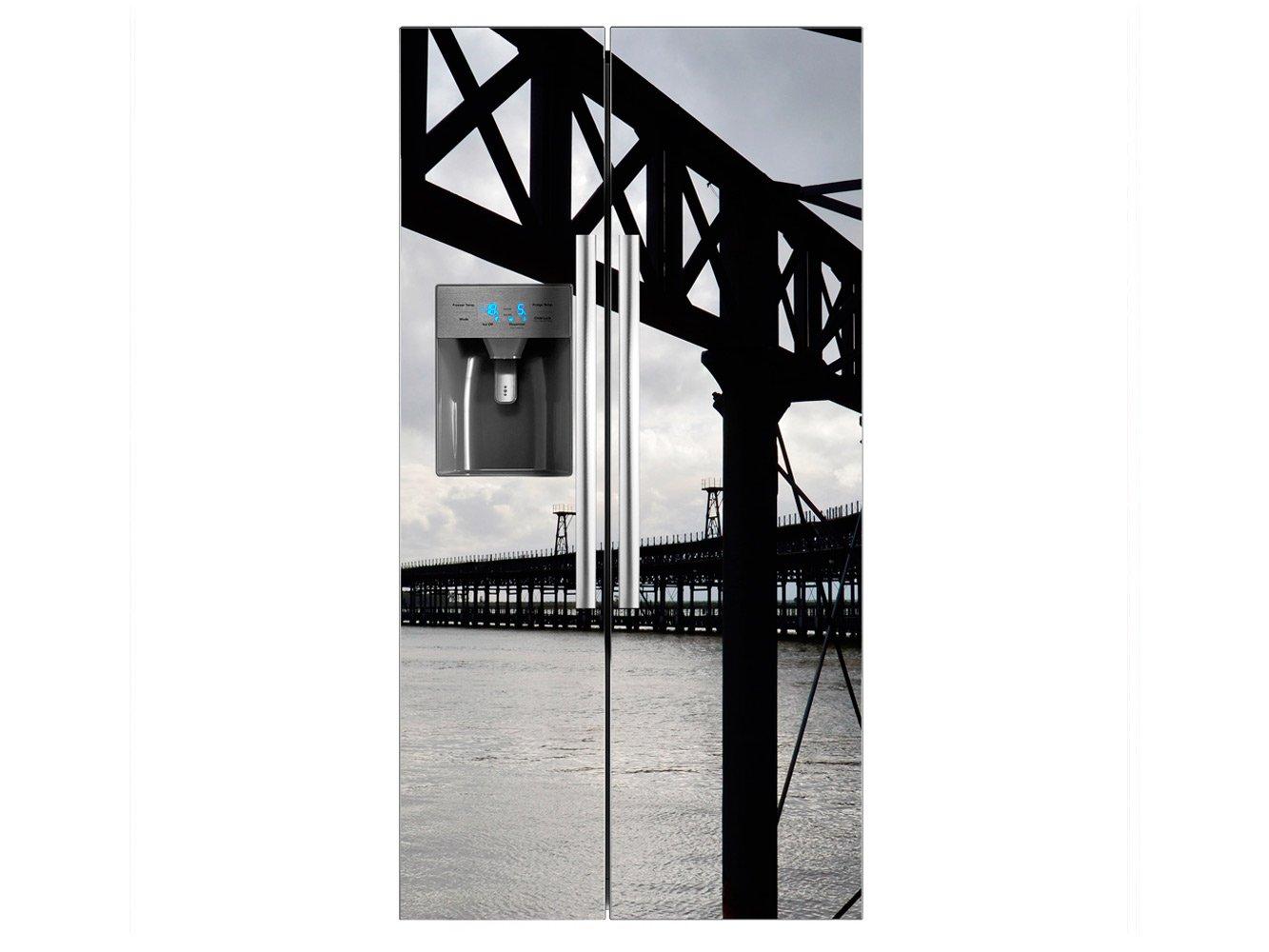 Vinilo Frigorífico Americano Puente Metalico Mar | 91x177cm ...